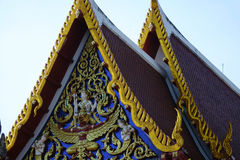 Temple decorations. Common architectural style of Buddhist temples Buddhism exhibit a different architectural and decorative approach.Buddhist monks decorate all Royalty Free Stock Images