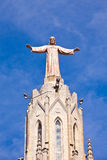 The Temple del Sagrat Cor (Church of the Sacred Heart). Barcelon. Jesus Christus Statue (by Josep Miret) at Expiatory Church of the Sacred Heart of Jesus (Temple Royalty Free Stock Photo