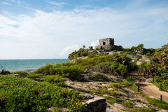 Temple del Viento at Tulum Ruins in  Mexico Stock Photography