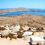 Temple  in delos greece the historycal acropolis and old ruin si Royalty Free Stock Image