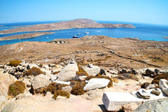 Temple  in delos greece the historycal acropolis and old ruin si Stock Image