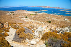Temple  in delos greece the historycal acropolis and old ruin si Royalty Free Stock Images