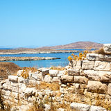 Temple  in delos greece the historycal acropolis and old ruin si Royalty Free Stock Photos