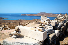 Temple  in delos  historycal acropolis and. In delos greece the historycal acropolis and    old ruin site Royalty Free Stock Image