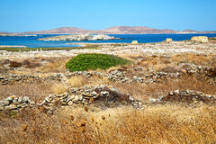 Temple  in delos  historycal acropolis and old. In delos greece the historycal acropolis and    old ruin site Royalty Free Stock Photography