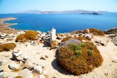 Temple  in delos   the historycal   old ruin site. In delos greece the historycal acropolis and    old ruin site Stock Photo