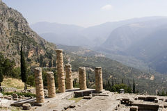 Temple in delphi greece. Ruined columns of ancient temple in Delphi, Greece Stock Photography