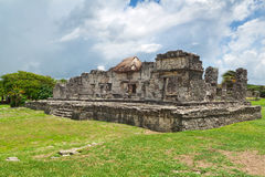 Temple of the Descending God. Archaeological ruins of Tulum in Mexico Royalty Free Stock Image