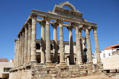 Temple of Diana. Building located in Merida, Badajoz (Spain) which was dedicated to the imperial cult and was built in the late first century BC I or early A.D stock photography