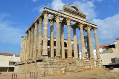 Temple of Diana, Merida Spain. Temple of Diana in Merida. Mérida is the capital of the autonomous community of Extremadura, Badajoz Province, western central royalty free stock images