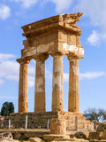 The temple of Dioscuri in Agrigento. The three remaining columns of the temple of Dioscuri in Agrigento Royalty Free Stock Images