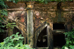 Temple in disrepair decorated with bats, Hanoi, Vietnam Royalty Free Stock Photography