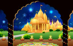 Temple in Diwali Night. Illustration of temple with backdrop of diwali firework in night sky