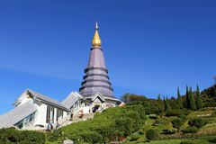 Temple on Doi Inthanon National Park. CHAINGMAI, THAILAND - JUNE 16, 2013 Doi Inthanon National Park ,one of the most visited tourist attractions on June 16,2013 royalty free stock photo