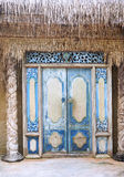 Temple door. Ancient indonesian style, leading into the rain forest stock images