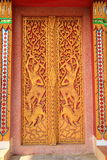 Temple door. With thai architecture and paint royalty free stock photo