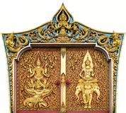 Temple door carved gold paint Royalty Free Stock Photos