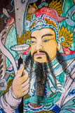 Temple door guard. Colorful chinese style door guard in thai temple Royalty Free Stock Images