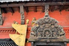 Temple door with monkeys, Kathmandu, Nepal Stock Photo