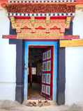 Temple door. Door to a Buddhist temple in a monastery in Ladakh, Kashmir, India Stock Photos