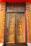 Temple door. Wood paint with the glass protect royalty free stock photos