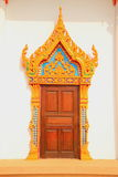 Temple door. Temple wood door with thai architecture and paint royalty free stock photos