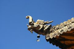 Temple dragon and blue sky Royalty Free Stock Image