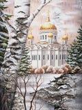 Temple du Christ du sauveur sur une écorce de bouleau Images libres de droits