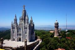 Temple du coeur de flambage sur la colline de Tibidabo à Barcelone photographie stock libre de droits