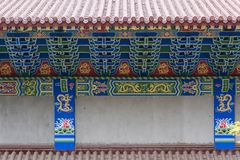 Tenon structure complex-Closeup of Chinese temple eaves. Temple eaves of Nanchang monastery, part of complex of,Tenon structure complex Royalty Free Stock Photos