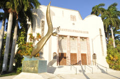 Temple Emanu-El is a synagogue. MIAMI SOUTH BEACH FLORIDA USA 10 29 12: Temple Emanu-El is a synagogue located in the South Beach district of Miami Beach stock photography