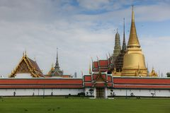 The Temple of Emerald Buddha in Bangkok Grand Palace. Golden Pagoda in The Temple of Emerald Buddha, located in Grand Place, Bangkok Thailand Royalty Free Stock Photos