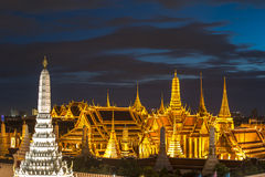 Temple of the Emerald Buddha at dusk, Wat Phra Kaew ,Thailand Royalty Free Stock Image
