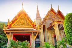 Temple of the Emerald Buddha at sunset, Thailand, Bangkok, Wat Phra Kaew. The royal grand palace Royalty Free Stock Photography