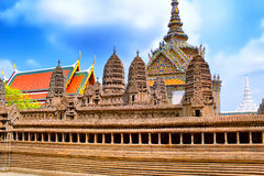 Temple of the Emerald Buddha, Thailand, Bangkok, Wat Phra Kaew. The royal grand palace. The Temple of the Emerald Buddha, Thailand, Bangkok, Wat Phra Kaew. The Royalty Free Stock Images