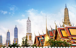 Temple of the Emerald Buddha (Wat Phra Kaew), Bangkok, Thailand. View of colorful rooftops of Temple of the Emerald Buddha (Wat Phra Kaew), Bangkok, Thailand Stock Photo