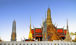 Temple of the Emerald Buddha (Wat Phra Kaew), Bangkok, Thailand. View of colorful rooftops of Temple of the Emerald Buddha (Wat Phra Kaew), Bangkok, Thailand Stock Images