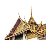 Temple of the Emerald Buddha on white background. Colorful rooftops of Temple of the Emerald Buddha, Wat Phra Kaew, on white background , Bangkok, Thailand Stock Images