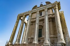 Temple Emperor Antonius and Wife Faustina with Corinthian Columns at Roman Forum, Rome, Italy Stock Photo