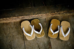 Temple entrance. Japanese wood sandals at the entrance of the temple Stock Image