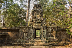 Temple Entrance. Crumbling walls and doorway of a Cambodian Temple near Angkor Wat Royalty Free Stock Photos