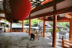 Temple entrance interior, Japan royalty free stock images