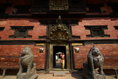 Temple entrance in Patan durbar square Royalty Free Stock Image