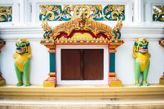 Temple entrance and Singha statue in temple, Thailand Royalty Free Stock Photography