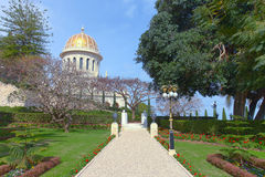 Temple et jardins de Bahai Images libres de droits