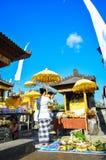 Temple et rituel de Balinese au temple de famille Photographie stock libre de droits