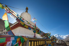 Temple with Everest mountain view in the Himalayas Royalty Free Stock Image