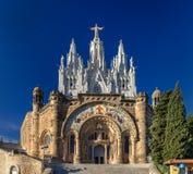 Temple Expiatori del Sagrat Cor en la montaña de Tibidabo en Barcelon Imagen de archivo libre de regalías
