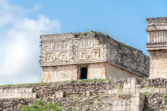 Temple Facade in Uxmal Yucatan Mexico Royalty Free Stock Photo