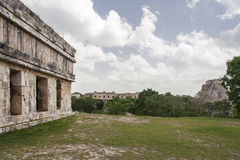 Temple Facade in Uxmal Yucatan Mexico Stock Photo